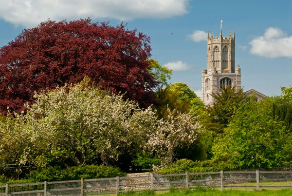Fotheringhay, St Mary & All Saints Church photo, The church tower from the castle mound
