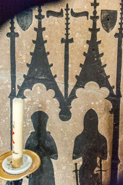 Freshwater, All Saints Church photo, Outline of medieval brasses set on the south chapel wall