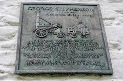 George Stephenson's Birthplace, The memorial plaque over the cottage door