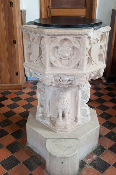 Gisleham, Holy Trinity Church photo, Lion font