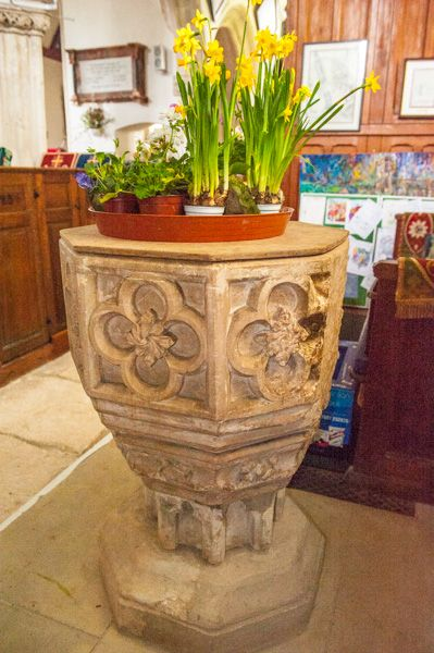 Gittisham, St Michael's Church photo, The 14th century font