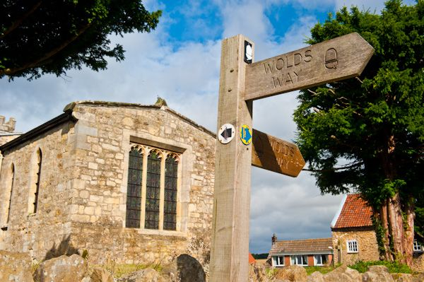 Goodmanham, All Hallows Church photo, Wolds Way signpost