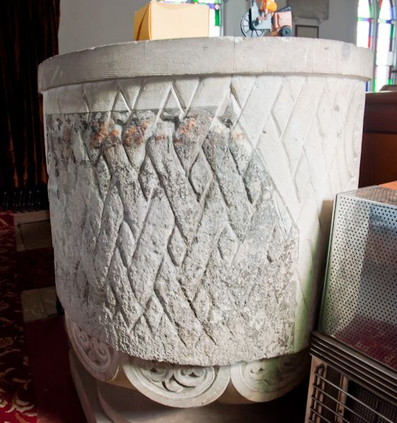 Goxhill, St Giles Church photo, Norman tub font