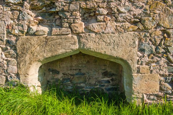 Grace Dieu Priory photo, A Tudor fireplace in the south range wall