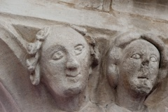 Carved heads in the nave