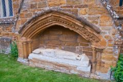 Great Brington, St Mary's Church, Medieval tomb outside the church