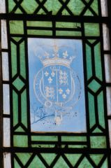 Great Coxwell, St Giles Church, Heraldic engraved glass panel, east window