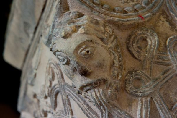 Great Givendale Church photo, Carved face, column capital