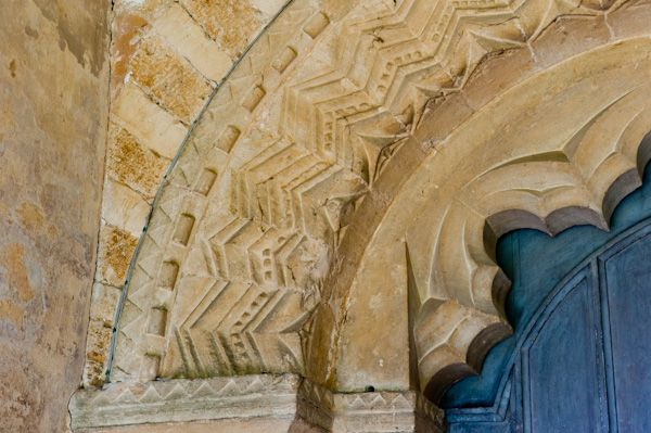 Great Tew, St Michael's Church photo, Norman carving detail, south doorway