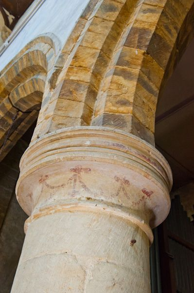 Great Tew, St Michael's Church photo, Medieval painting, nave pillar