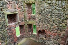 Greenknowe Tower, Looking down inside the tower