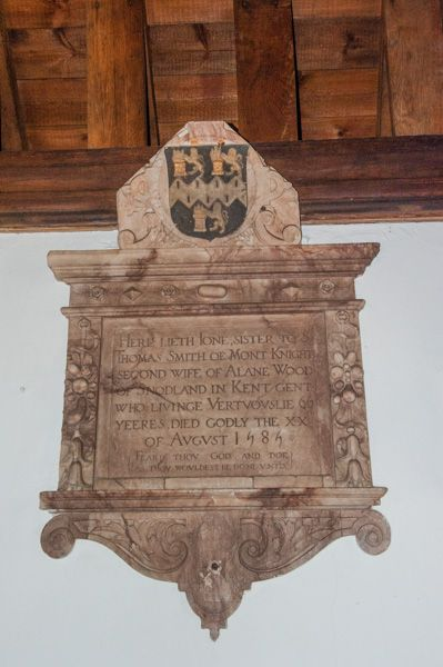 Greensted, St Andrews Church photo, Joan Smith memorial (1585)