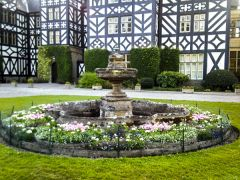 Gregynog Hall & Gardens, A formal fountain and flowers (c) Penny Maes