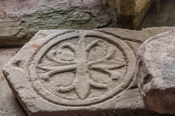 Grosmont, St Nicholas Church photo, Floriated cross from a medieval grave slab