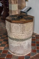 Grosmont, St Nicholas Church, The Norman tub font