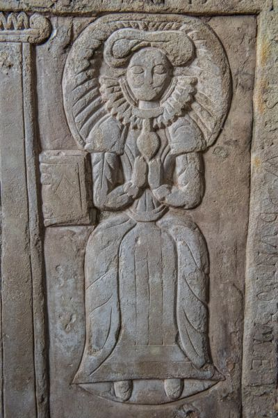 Grosmont, St Nicholas Church photo, Joan Baker memorial carving