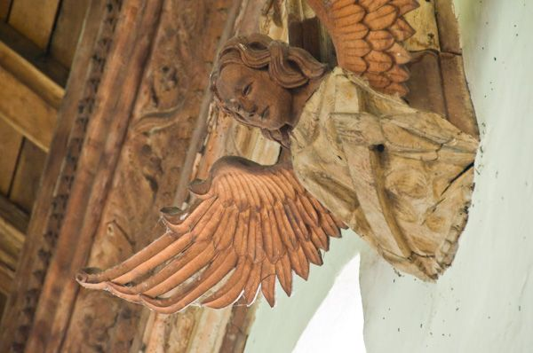Grundisburgh, St Mary's Church photo, Angel carving 3