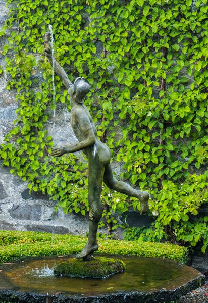 Gwydir Castle photo, A fountain statue behind the house