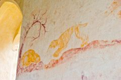 Hunting dog and rabbit wall painting