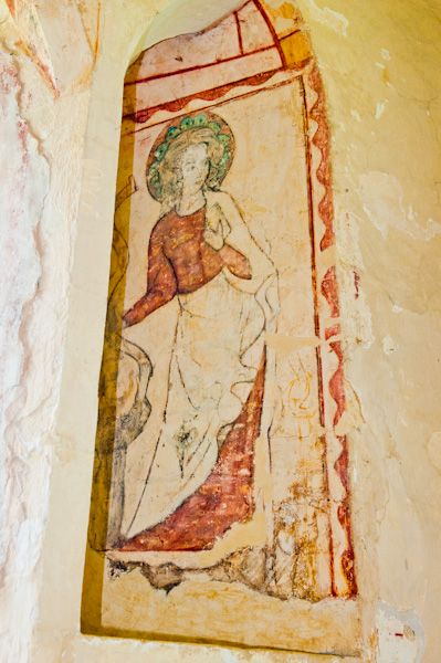 Hailes Church, Gloucestershire photo, St Catherine wall painting