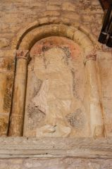 Romanesque statue niche and wall paintings
