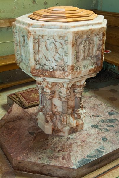 Hampton Lucy, St Peter ad Vincula Church photo, The marble font