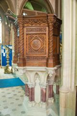 The beautifully carved pulpit