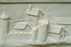Hardwick Old Hall, Plaster panel of a fortified town