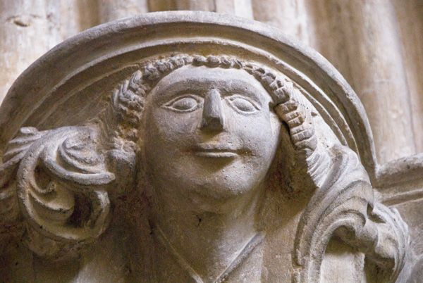 Haverfordwest, St Mary's Church photo, Carved corbel head of a woman