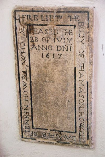 Haverfordwest, St Mary's Church photo, Thomason Howell memorial, 1617
