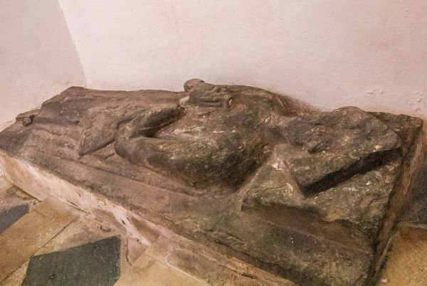 Haverfordwest, St Mary's Church photo, Effigy of a medieval pilgrim