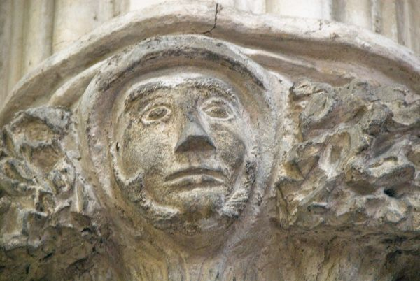 Haverfordwest, St Mary's Church photo, Green Man carved capital