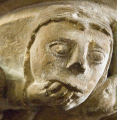 A worried looking carved head!