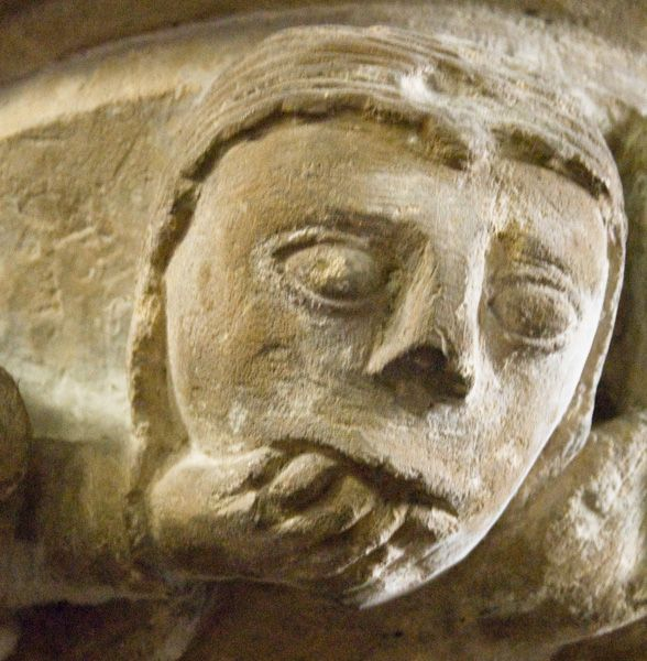 Haverfordwest, St Mary's Church photo, A worried looking carved head!