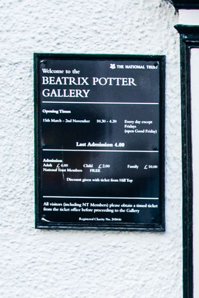Beatrix Potter Gallery photo, The National Trust sign by the door