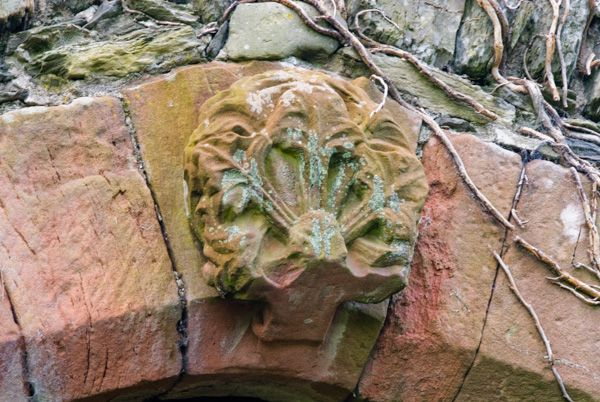 Hawkshead Old Courthouse photo, Foliated carving above the archway