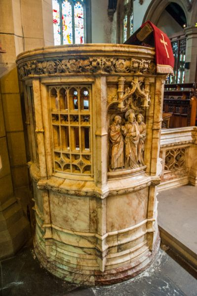 Haworth, St Michael's Church photo, The alabaster pulpit