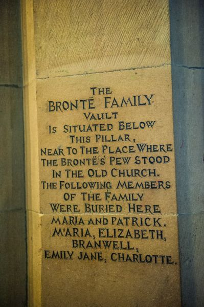 Haworth, St Michael's Church photo, Plaque marking the site of the Bronte family burial