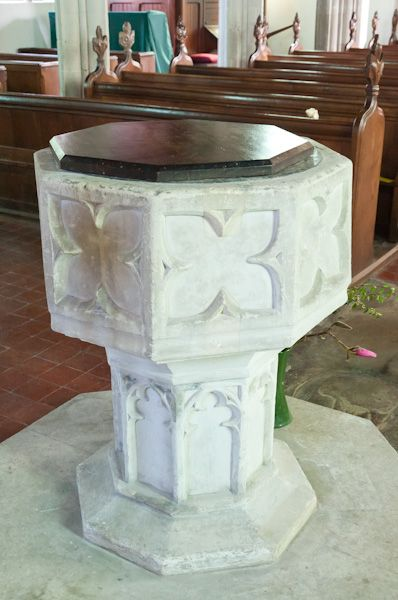 Higham, Suffolk, St Mary's Church photo, 15th century font