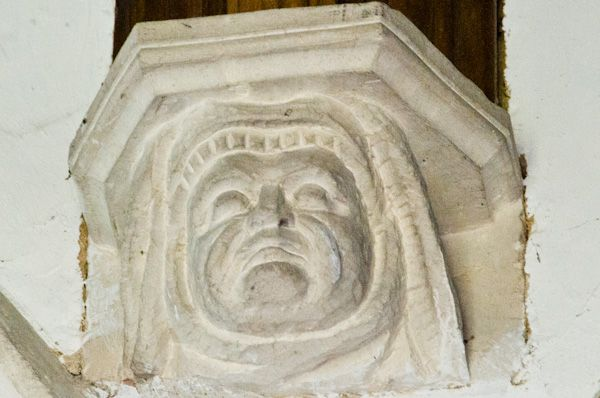 Higham, Suffolk, St Mary's Church photo, Stone corbel head