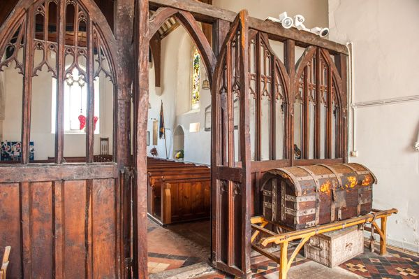 Higham, St Mary's Church photo, 15th century rood screen
