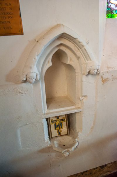 Higham, St Mary's Church photo, Medieval aumbry and piscina