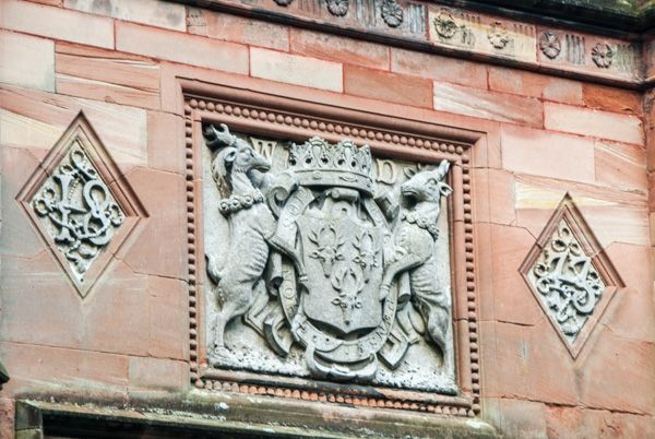Holker Hall photo, Cavendish coat of arms over the entrance