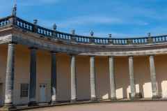 The curving north wing colonnade
