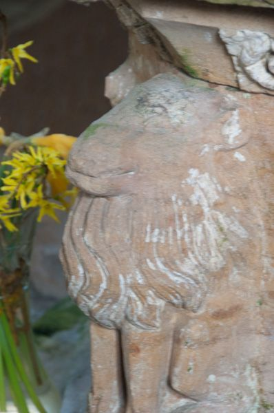 Horham, St Mary's Church photo, Lion carving on font