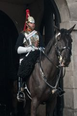 A mounted soldier on the Whitehall facade of Horse Guards