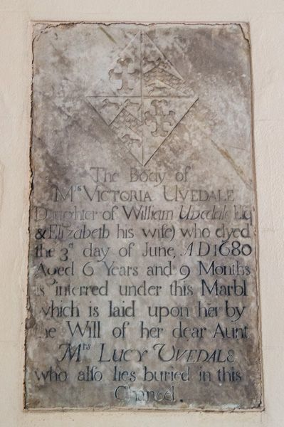 Horton, St Wolfrida's Church photo, Victoria Uvedale memorial, 1680