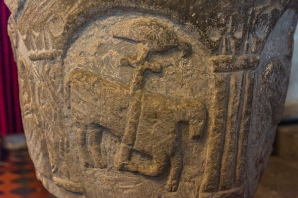 Ilam, Holy Cross Church photo, Agnes Dei (Lamb of God) carving on the font