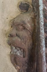 Innerpeffray Chapel, Grotesque corbel head carving