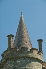 A corner tower turret